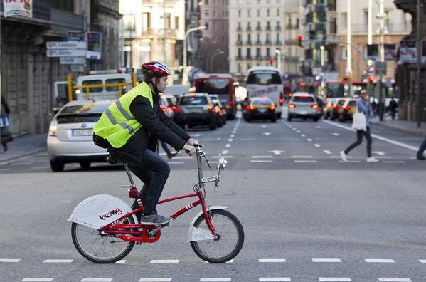 Ciclista con reflectante