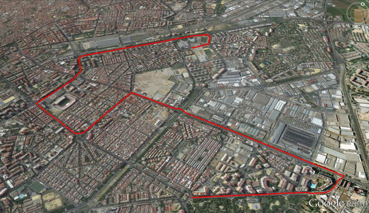 Ruta Parque Amate Fuente: http://www.cicloscabello.com/afilador/sevilla-sobre-ruedas-2015/