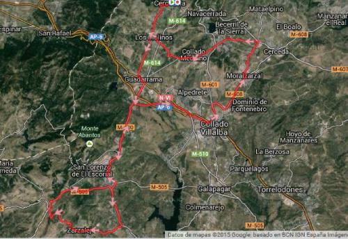 """Plano Marcha Cicloturista """"Pedales contra el Cáncer"""" Fuente: http://www.ciclismoafondo.es/"""
